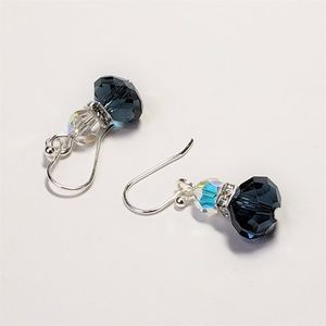 AB and Navy Crystal Earrings